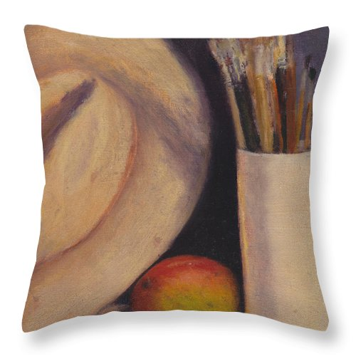 Hat Throw Pillow featuring the painting Mango by Chris Neil Smith