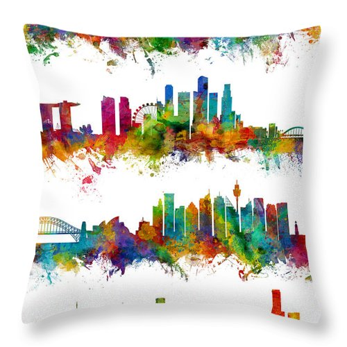Manila Throw Pillow featuring the digital art Manila, Singapore, Sydney and Melbourne Skylines by Michael Tompsett