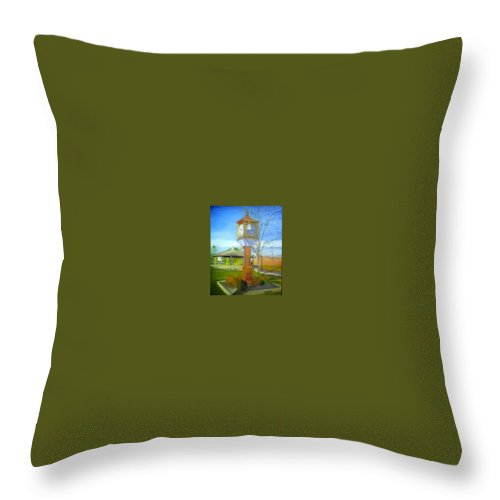 Maple Shade Throw Pillow featuring the painting Maple Shade Clock by Sheila Mashaw