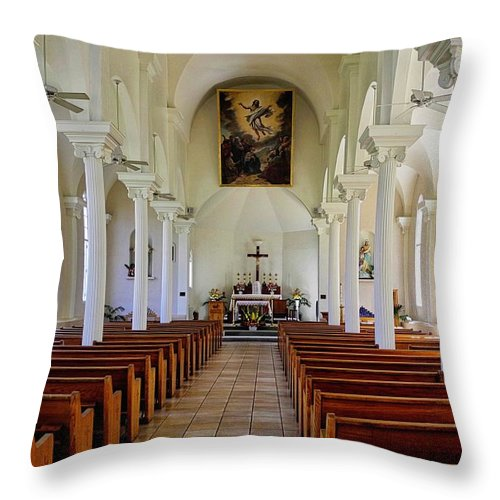 Lahaina Throw Pillow featuring the photograph Maria Lanakila Church Interior by Kirsten Giving