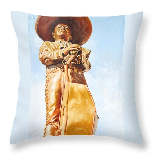 Mariachi Throw Pillow featuring the painting Mariachi by Laura Pierre-Louis