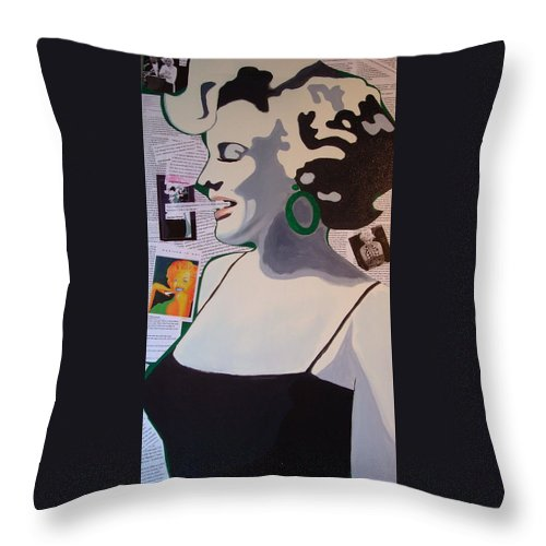 Marilyn Monroe Throw Pillow featuring the drawing Marilyn by Holly Picano