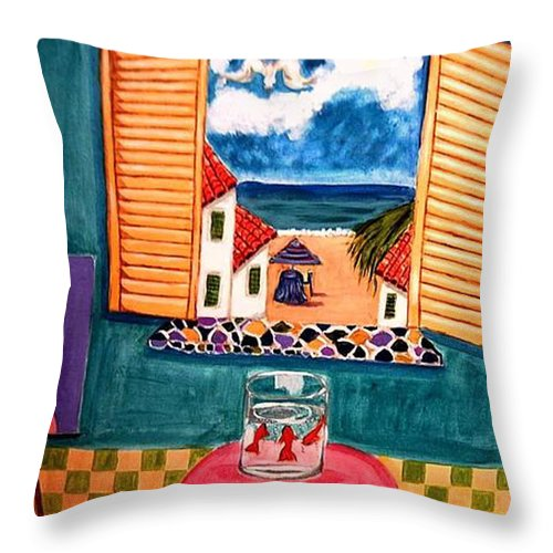 Guitar Throw Pillow featuring the painting Marina by Rusty Gladdish
