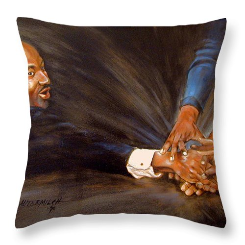 Martin Luther King Throw Pillow featuring the painting Martin Luther King by John Lautermilch