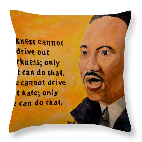 Oil Throw Pillow featuring the painting Martin Luther King Jr. by Roger Snell