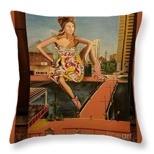 Throw Pillow featuring the painting Maryland, Inner Harbor, Baltimore by Jude Darrien