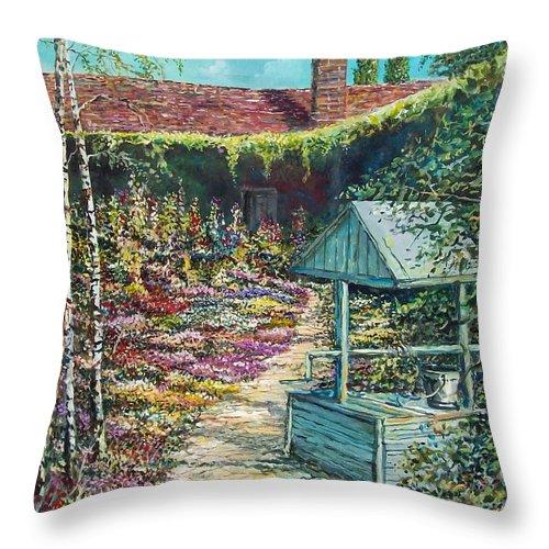 Garden Throw Pillow featuring the painting Mary's Garden by Sinisa Saratlic