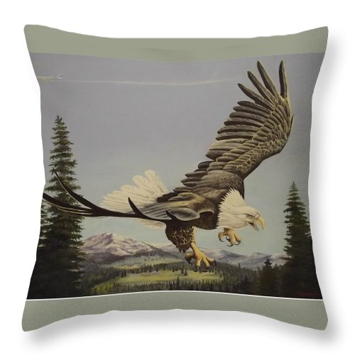 Landscape Throw Pillow featuring the painting Masters of the Sky by Wanda Dansereau