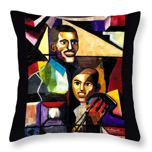 Everett Spruill Throw Pillow featuring the painting Me and Dad by Everett Spruill