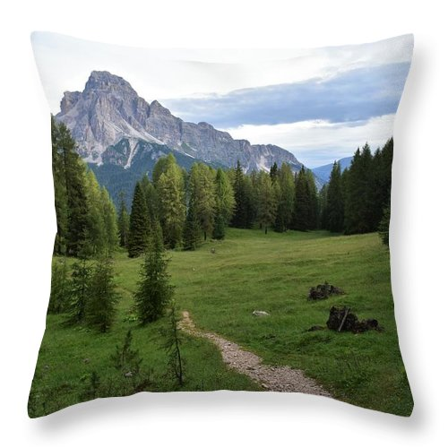 Dolomites Throw Pillow featuring the photograph Meadow in the dolomites by Luca Lautenschlaeger