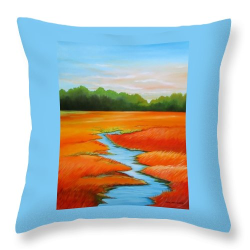 Stream Throw Pillow featuring the painting Meandering Stream by Carol Sabo