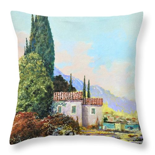 Original Painting Throw Pillow featuring the painting Mediterraneo 2 by Sinisa Saratlic