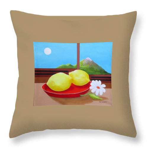 Still Life Throw Pillow featuring the painting Mellow Yellow by Carol Sabo