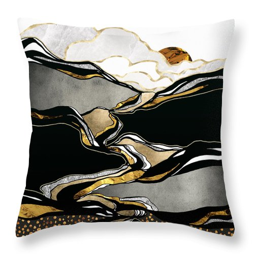Metallic Throw Pillow featuring the digital art Metallic Vista by Spacefrog Designs