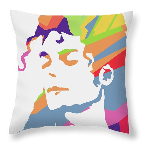 Michael Jackson Throw Pillow featuring the digital art Michael Jackson 3 POP ART by Ahmad Nusyirwan
