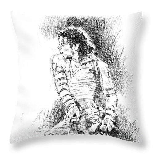 Michael Jackson Throw Pillow featuring the drawing Michael Jackson - Onstage by David Lloyd Glover