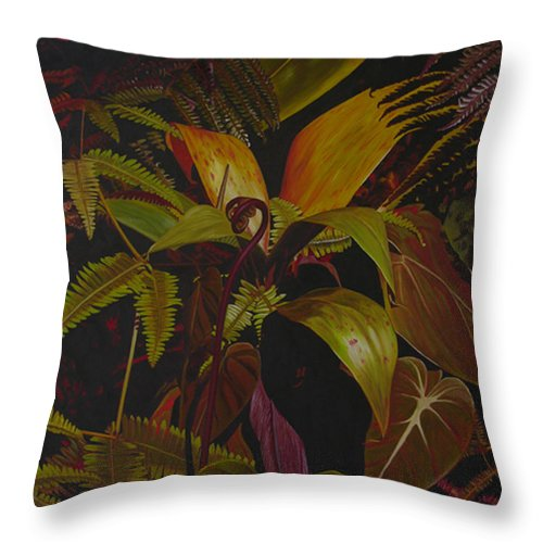 Plant Throw Pillow featuring the painting Midnight in the garden by Thu Nguyen