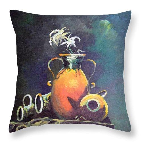 Still Life Throw Pillow featuring the painting Midnight Moon by Sinisa Saratlic