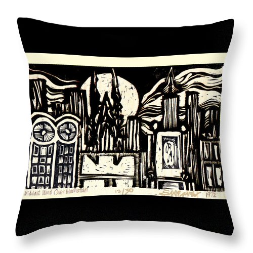 Bizarre Throw Pillow featuring the mixed media Midnight Wind Over Manhattan by Seth Weaver