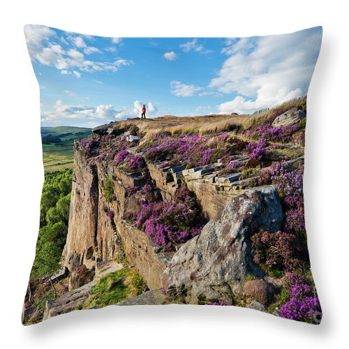 Hathersage Throw Pillow featuring the photograph Millstone Edge And Hathersage Moor With Purple Heather, Peak District, England by Neale And Judith Clark