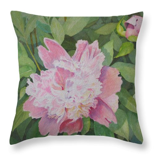 Peony Throw Pillow featuring the painting Mimis Delight by Mary Ellen Mueller Legault