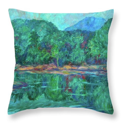 Landscape Throw Pillow featuring the painting Misty Morning At Carvins Cove by Kendall Kessler