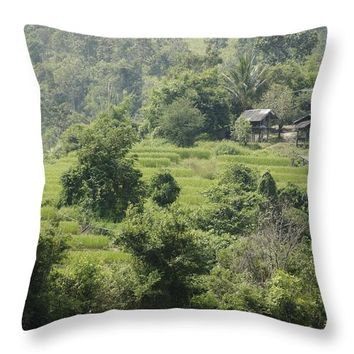 3scape Throw Pillow featuring the photograph Misty Mountain Village by Adam Romanowicz