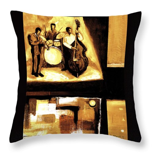 Everett Spruill Throw Pillow featuring the painting Modern Jazz Number Two by Everett Spruill