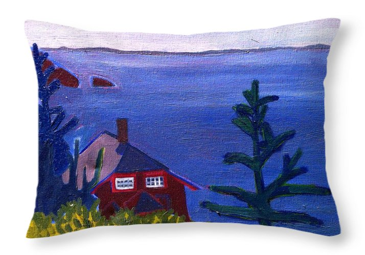 Beach Throw Pillow featuring the painting Monhegan Late Afternoon by Debra Bretton Robinson