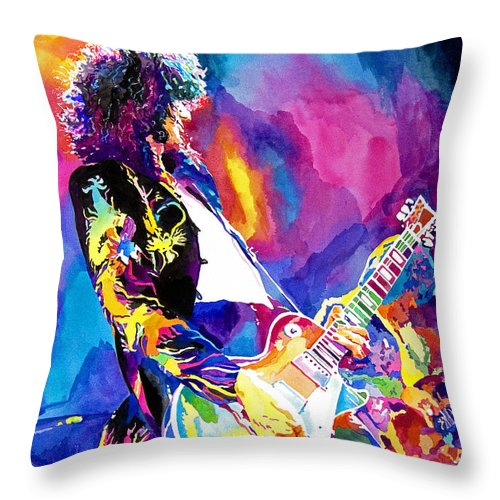 Jimmy Page Artwork Throw Pillow featuring the painting Monolithic Riff - Jimmy Page by David Lloyd Glover