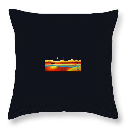 Moon Throw Pillow featuring the painting Moon Over Desert River by Carol Sabo
