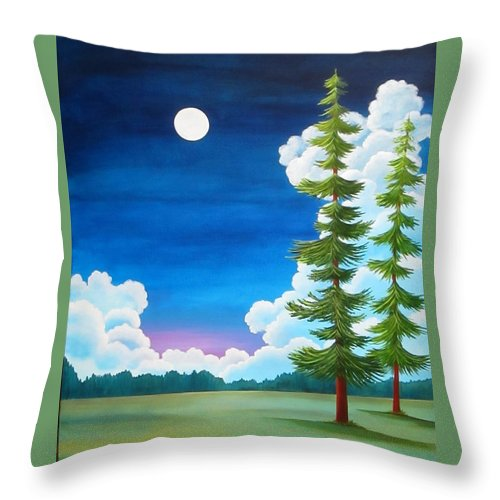 Moon Throw Pillow featuring the painting Moonshine and Still Standing by Carol Sabo