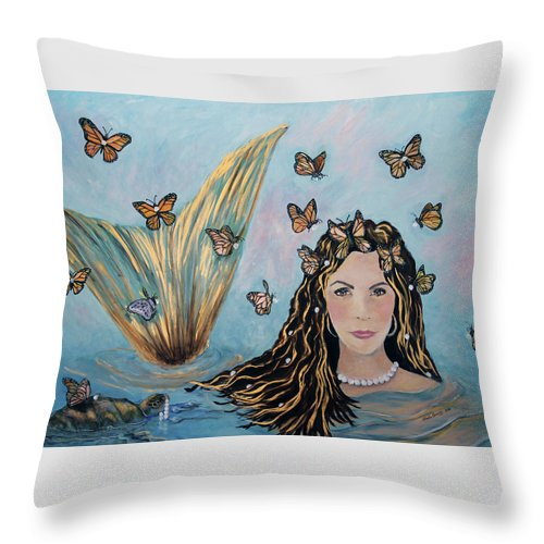 Mermaid Throw Pillow featuring the painting More Precious Than Gold by Linda Queally