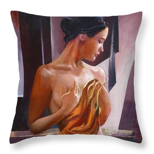 Female Figure Throw Pillow featuring the painting Morning Beauty by Sinisa Saratlic