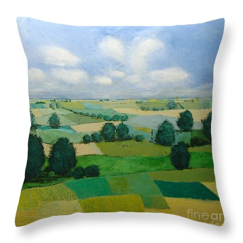 Landscape Throw Pillow featuring the painting Morning Calm by Allan P Friedlander