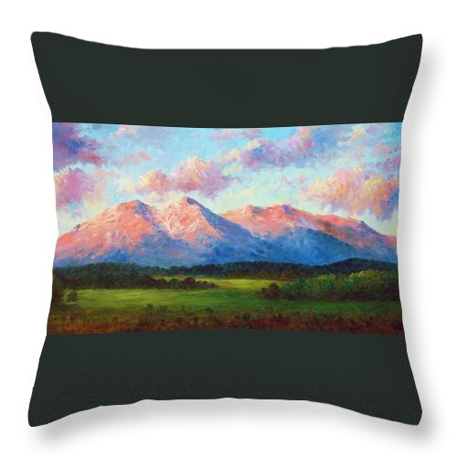 Landscape Throw Pillow featuring the painting Morning Light On Mount Shavano by David G Paul