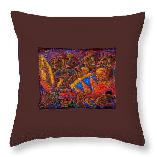 Puerto Rico Throw Pillow featuring the painting Musas Del Caribe by Oscar Ortiz
