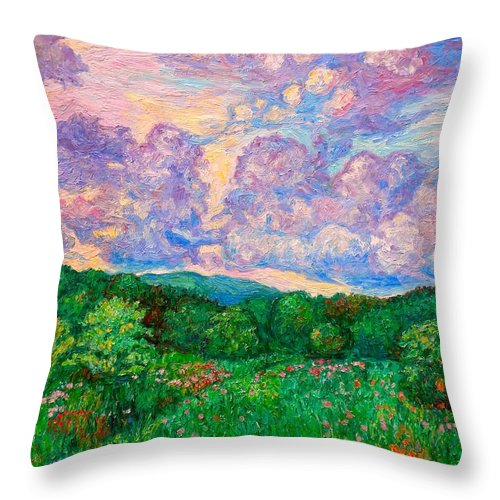 Landscape Throw Pillow featuring the painting Mushroom Clouds by Kendall Kessler