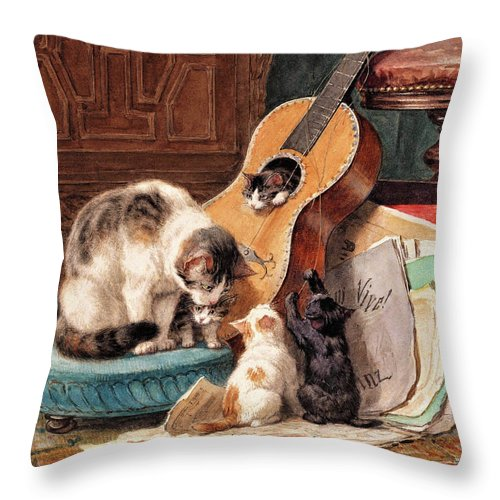 Musician Throw Pillow featuring the painting Musician - Digital Remastered Edition by Henriette Ronner-Knip