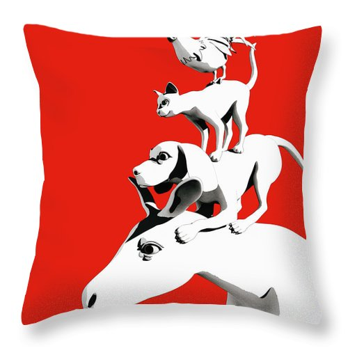 Donkey Throw Pillow featuring the digital art Musicians of Bremen_red by Heike Remy