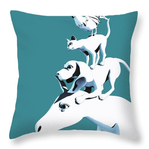Donkey Throw Pillow featuring the digital art Musicians of Bremen_teal by Heike Remy