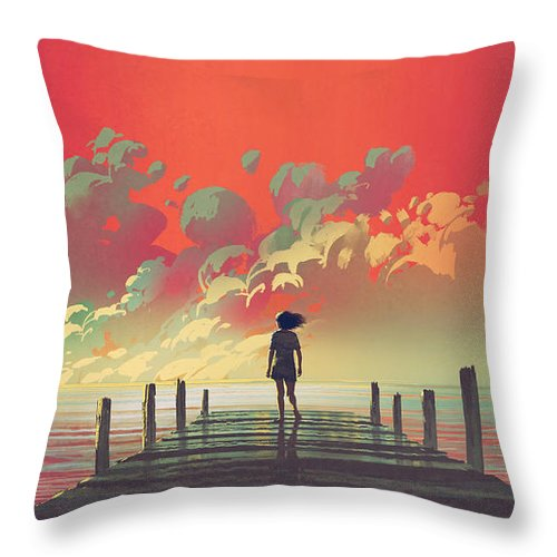 Illustration Throw Pillow featuring the painting My Dream Place by Tithi Luadthong