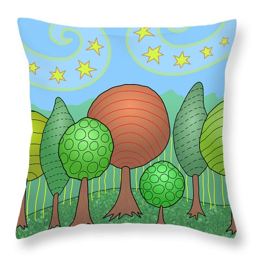 Family Throw Pillow featuring the digital art My Family by Susan Bird Artwork