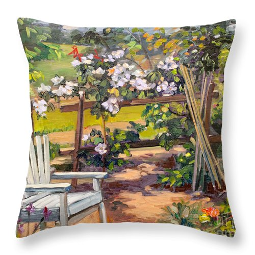 Beautiful Throw Pillow featuring the painting My Garden Corner by Dominique Amendola