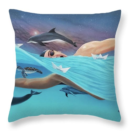 Swimming Throw Pillow featuring the painting Nadando Contra Corriente by Angel Ortiz