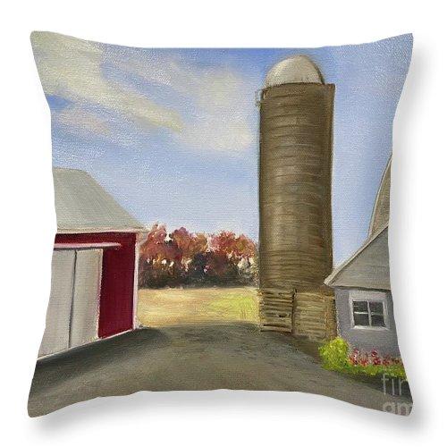 Plein Aire Throw Pillow featuring the painting Nancys Farm by Sheila Mashaw