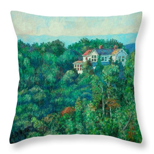 Landscape Throw Pillow featuring the painting Near Memorial Bridge by Kendall Kessler