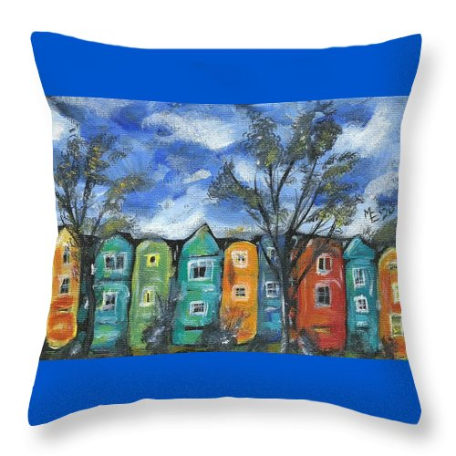Neighborhood Painting Throw Pillow featuring the painting Neighborhood by Monica Resinger