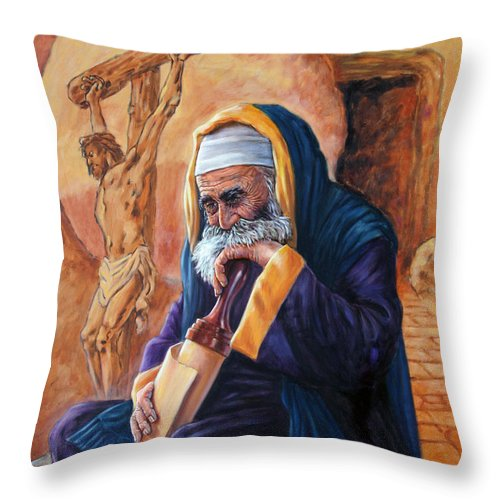 Christ Throw Pillow featuring the painting Nicodemus by John Lautermilch