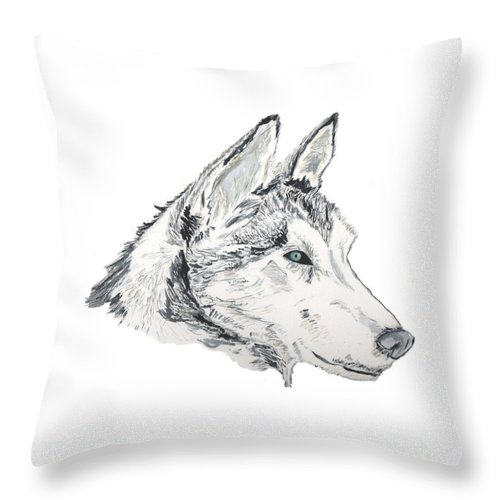 Wolf Throw Pillow featuring the painting Noble Soul by Crystal Hubbard